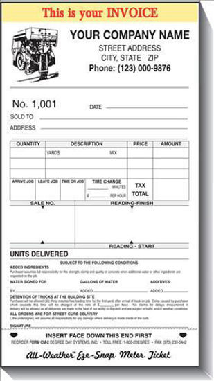 Picture of CONCRETE-MOBILE METER TICKETS; 3-PART